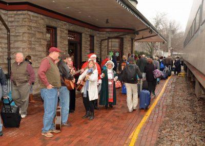 Historic-Kirkwood-Train-Station-carolers-by-train